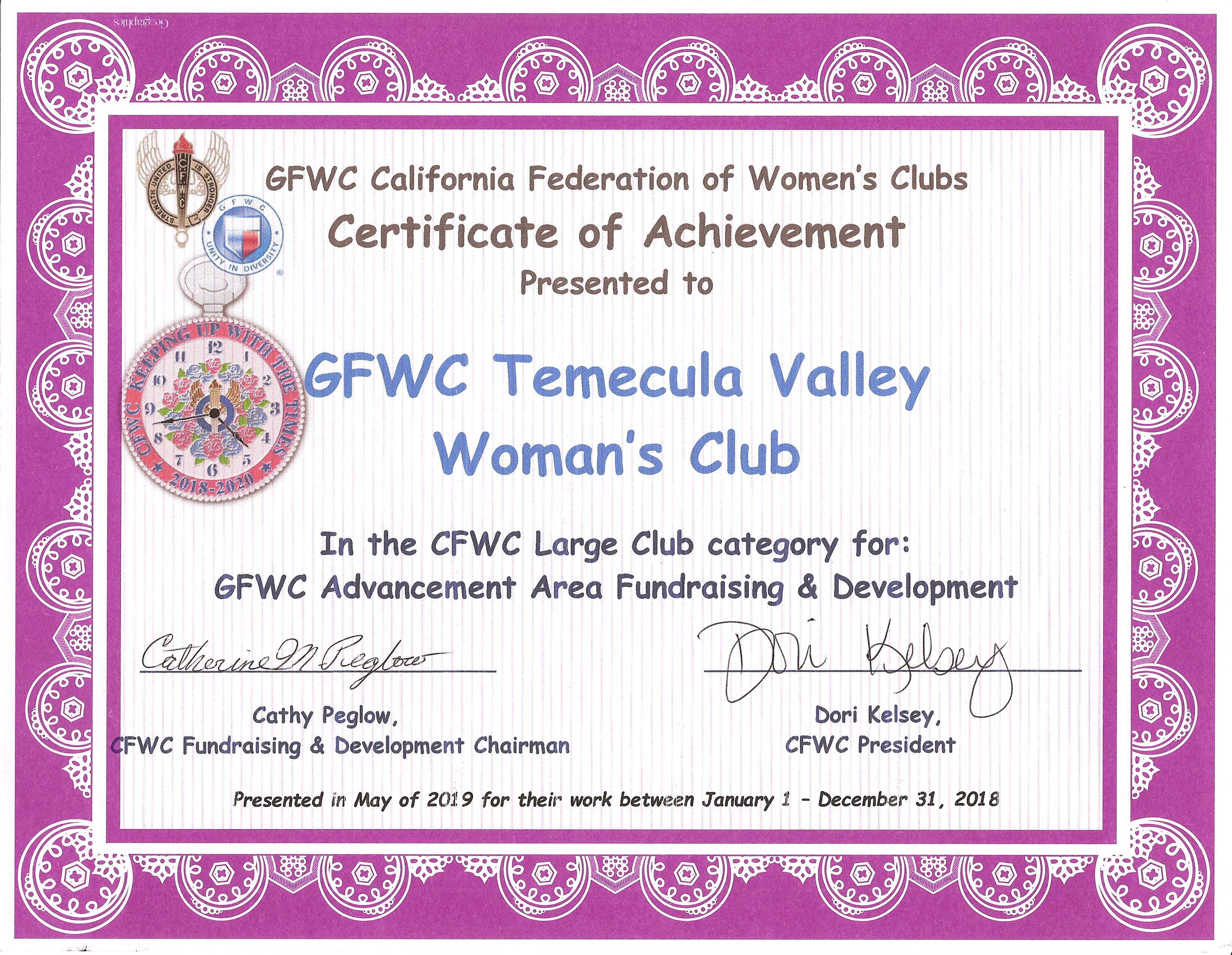 Advancement Area Fundraising & Development - CFWC May 2019