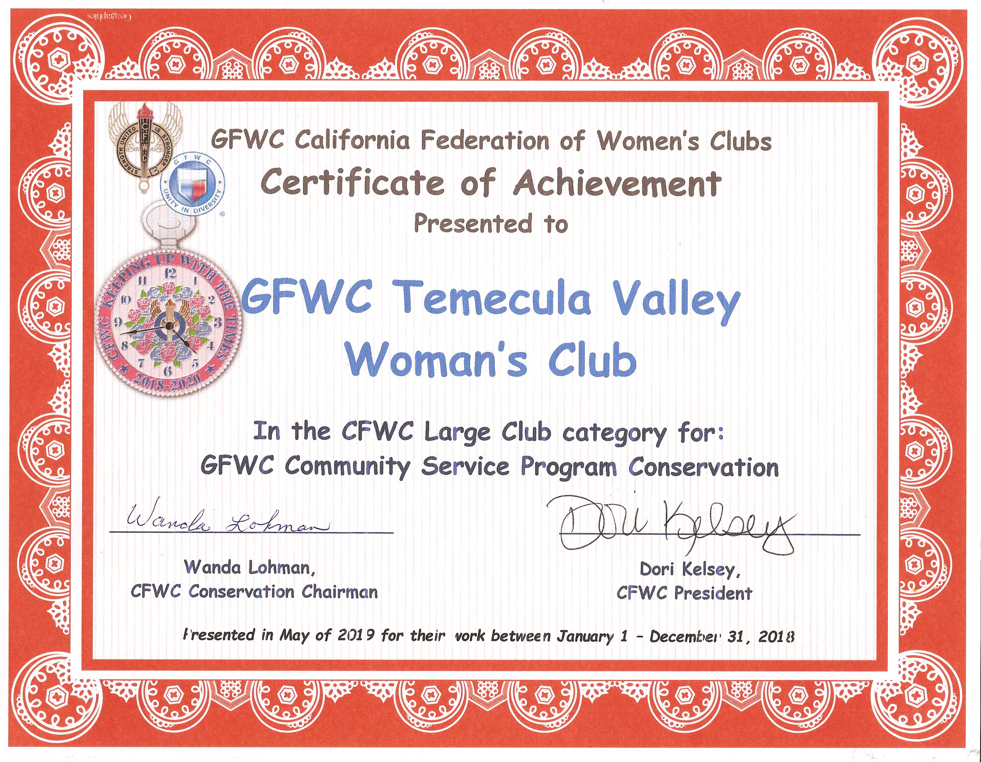 Community Service Program Conservation - CFWC May 2019