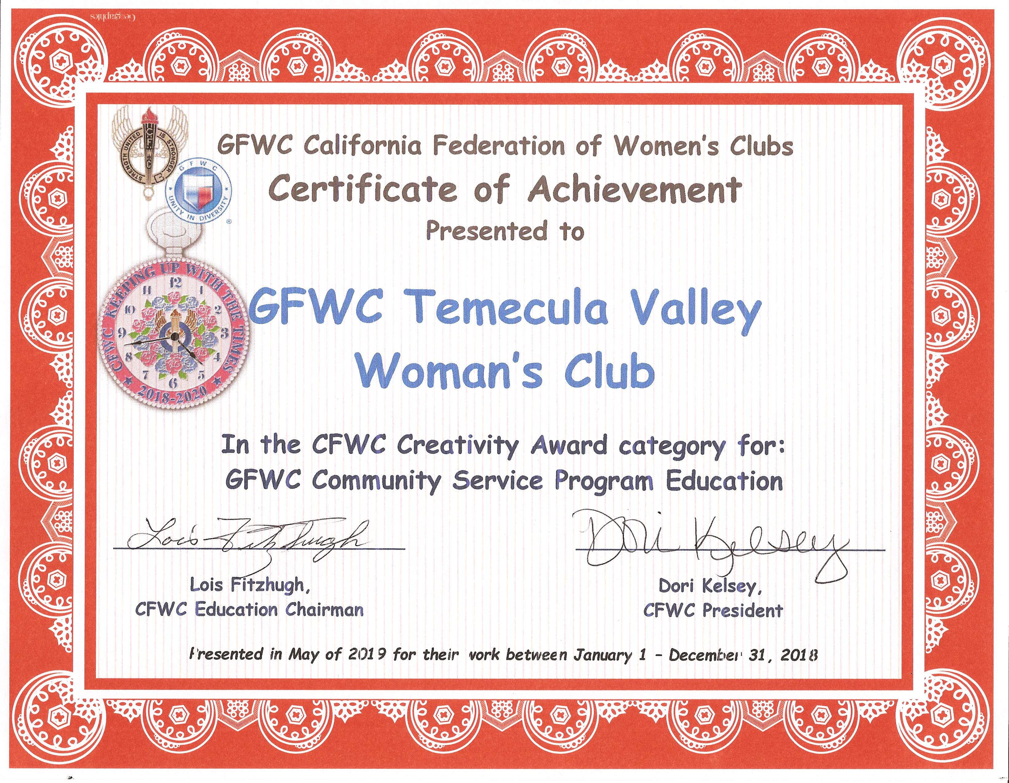 Community Service Program Education - Creativity - CFWC May 2019