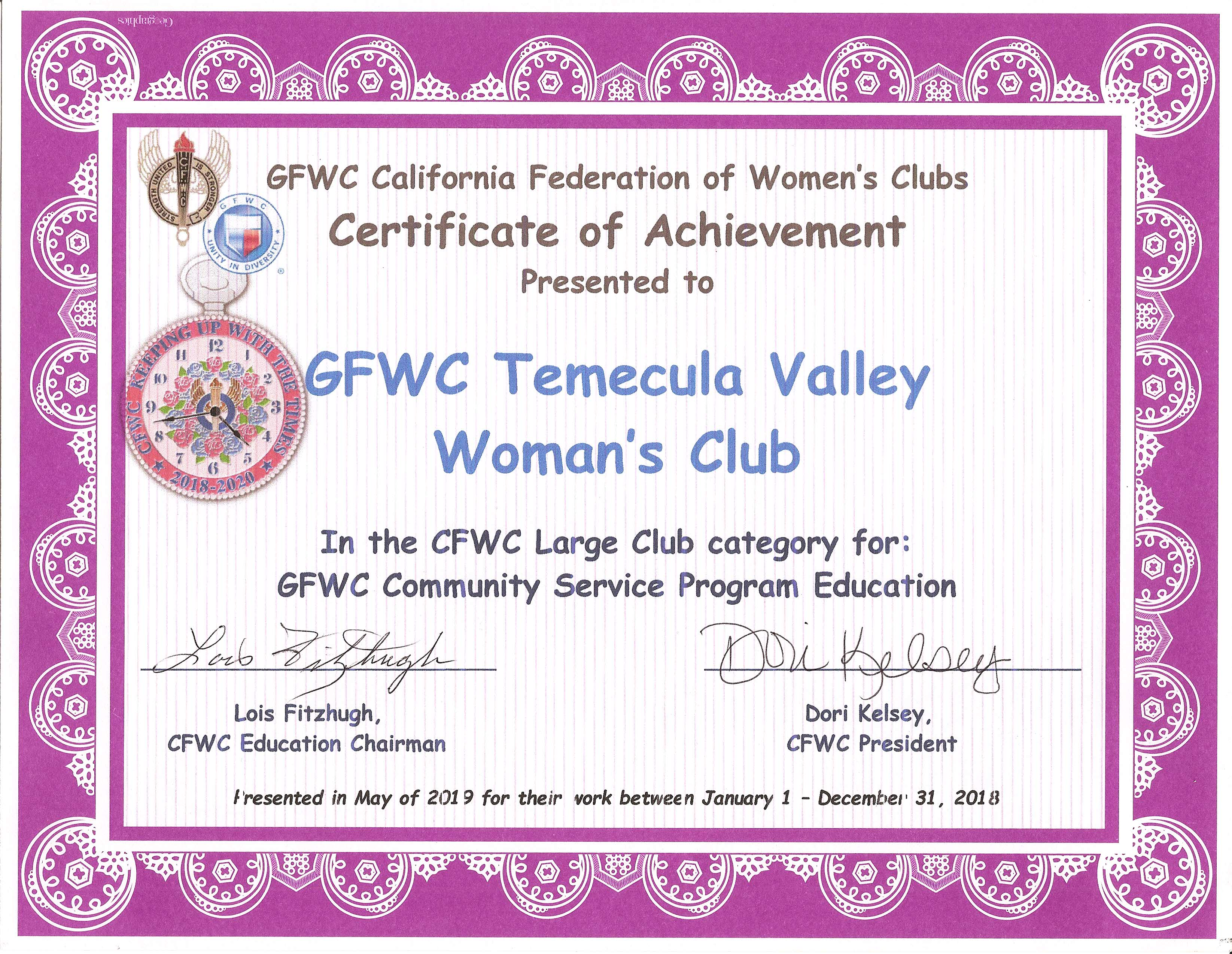 Community Service Program Education - Large Club - CFWC May 2019