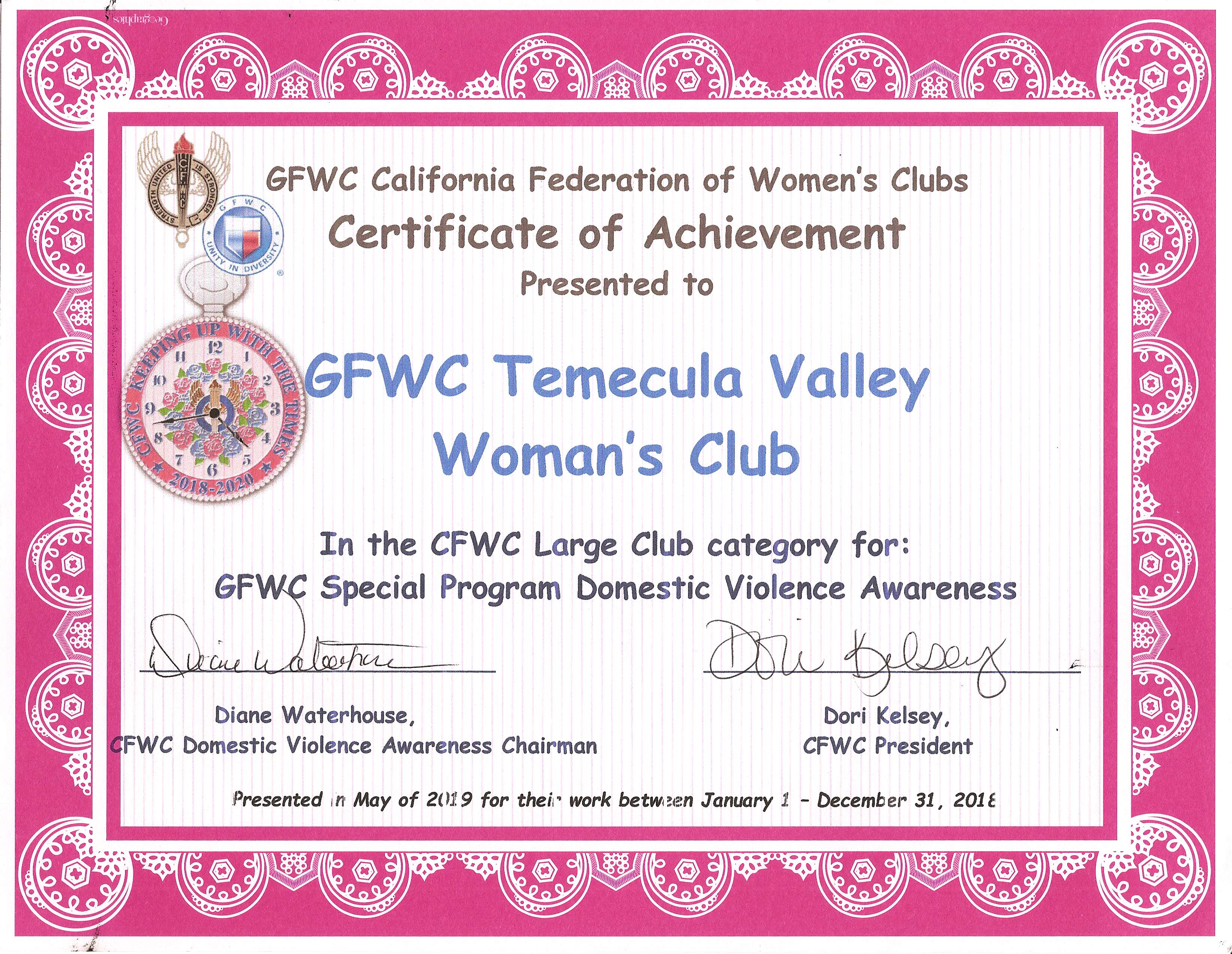 Special Program Domestic Violence Awareness - CFWC May 2019