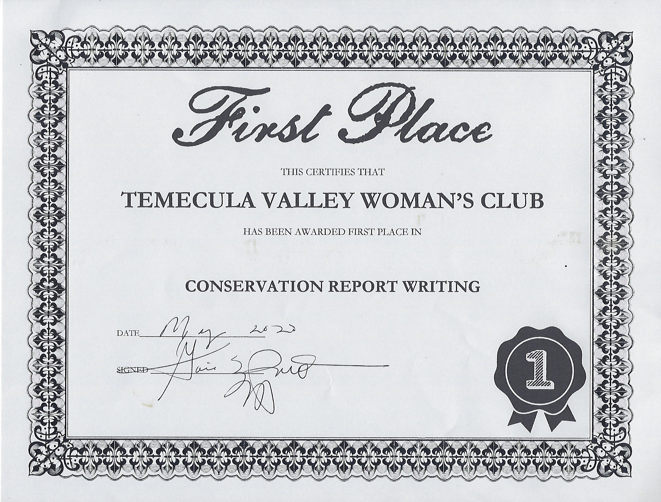 Conservation Report Writing Award 1st Place