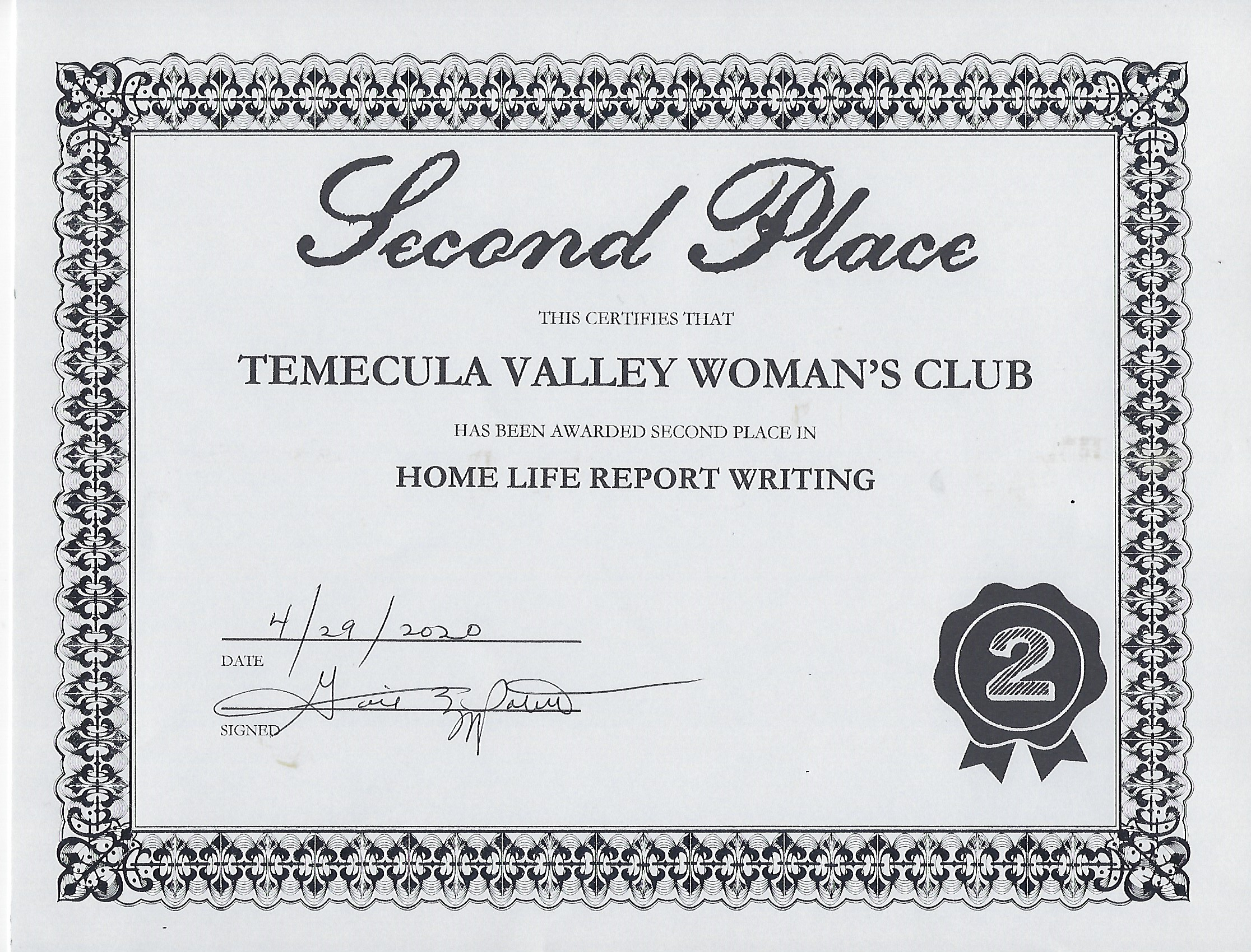 Home Life Report Writing Award 2nd Place